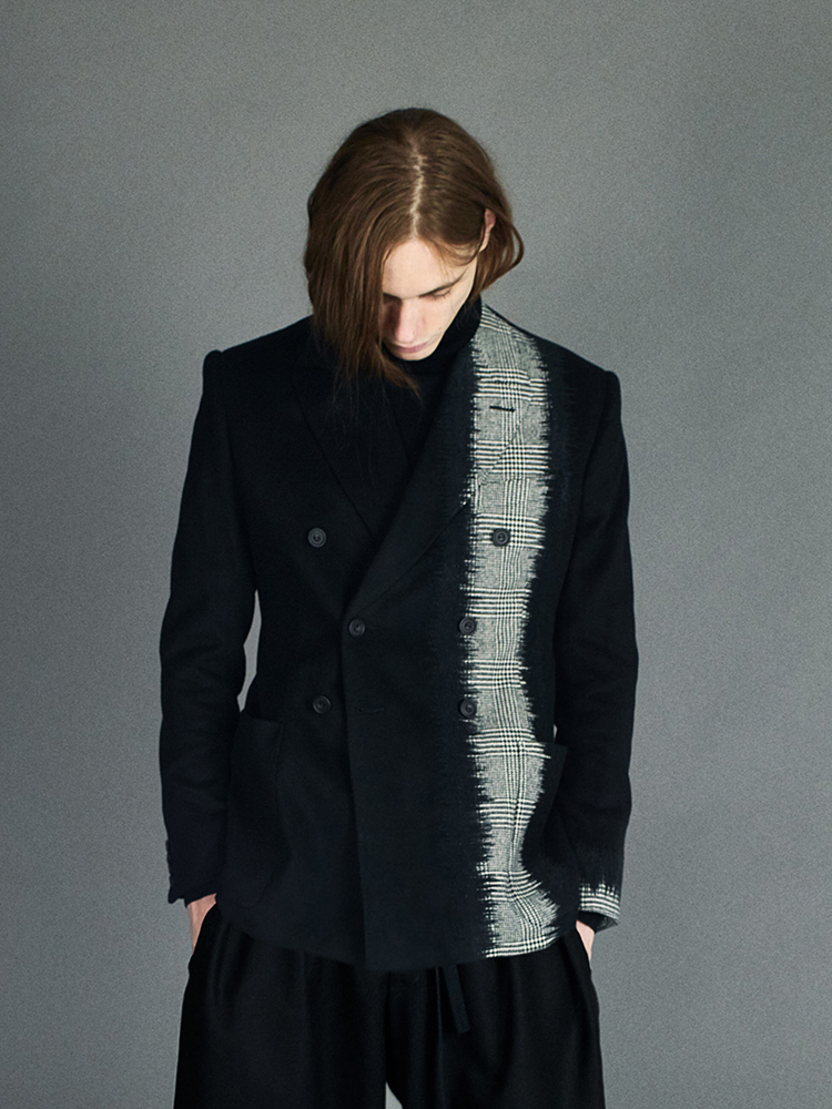 black double breasted jacket panelled with glen check