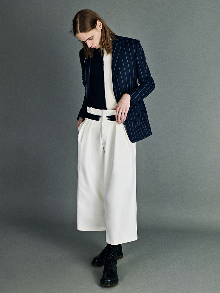 blue rope stripe single breasted jacket with smocking details white wide leg trousers
