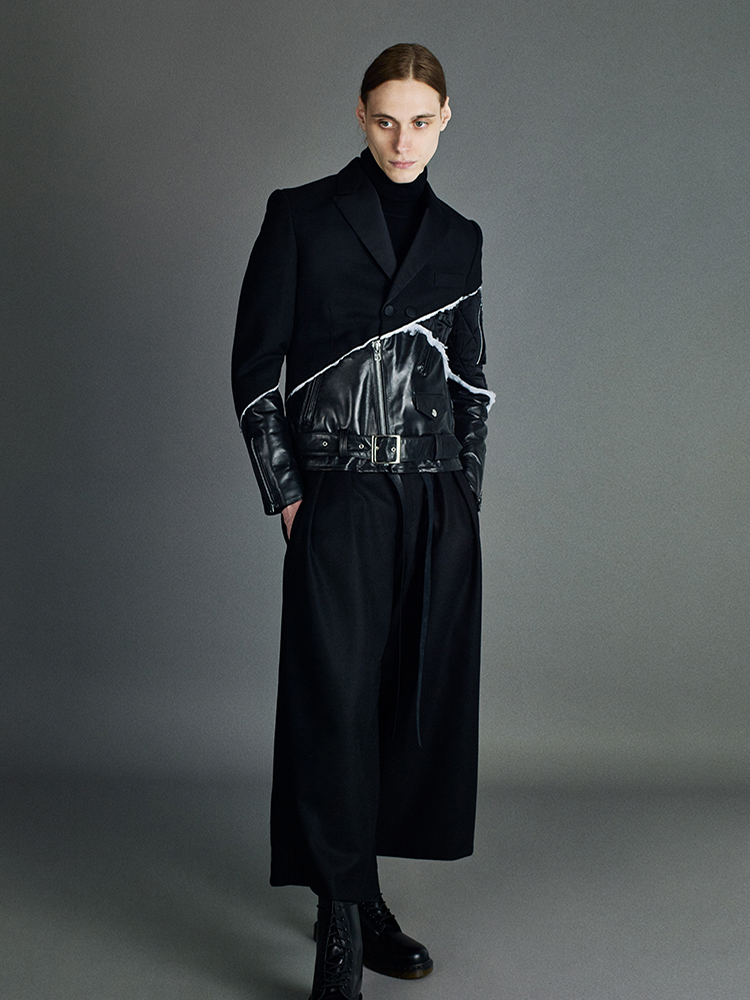 dinner jacket + bomeber jacket + perfecto with black wide leg trousers